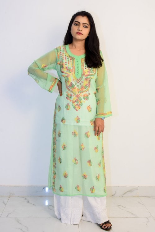 Buy Hand Embroidered Lucknowi Chikan Kurti With Palazzo Light Green